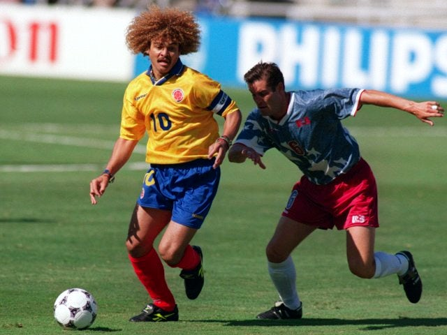 Colombia's Carlos Valderrama in action against USA on June 22, 1994.