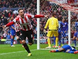 Sunderland striker Connor Wickham celebrates after putting the Black Cats ahead against Cardiff City in the Premier League on April 27, 2014