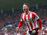 Sunderland's Connor Wickham celebrates after scoring his team's first goal against Cardiff during the Premier League match on April 27, 2014