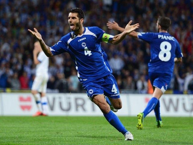 Emir Spahic celebrates scoring a header for Bosnia on September 10, 2013.