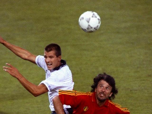 Belgium's Eric Gerets challenges England's Steve Bull for possession on June 26, 1990.