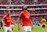 Benfica's Argentinian defender Ezequiel Garay (R) celebrates after scoring the opening goal during the UEFA Europa League semifinal first leg football match against Juventus on April 24, 2014