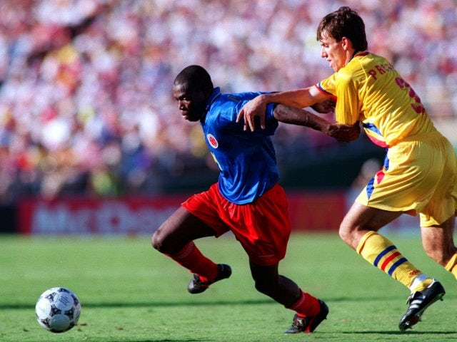 Former Newcastle United striker Faustino Asprilla in action for Colombia on June 18, 1994.