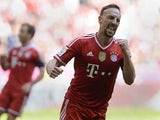 Bayern's Franck Ribery celebrates after scoring his team's first goal against Werder Bremen during their Bundesliga match on April 26, 2014