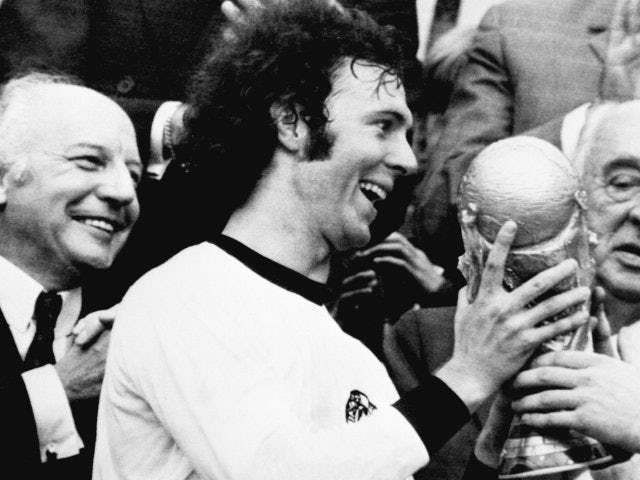 Germany captain Franz Beckenbauer lifts the World Cup on July 07, 1974.