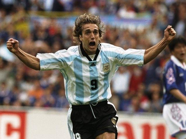 Gabriel Batistuta celebrates scoring for Argentina on June 14, 1998.