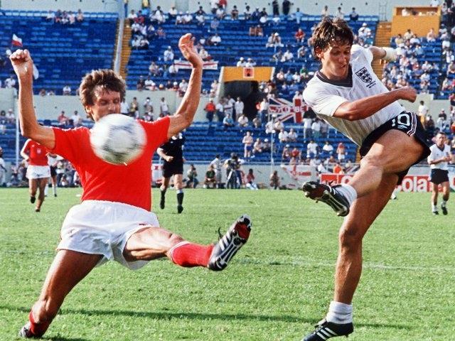 England striker Gary Lineker shoots for goal against Poland on June 11, 1986.
