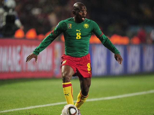 Former Chelsea midfielder Geremi playing for Cameroon at the World Cup on June 19, 2010.