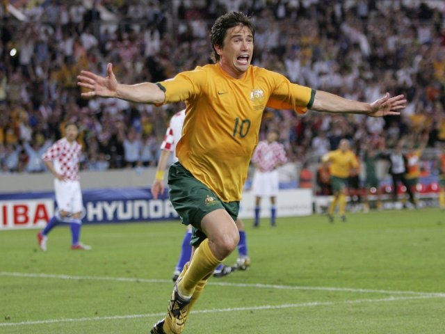 Harry Kewell celebrates scoring for Australia against Croatia in the World Cup on June 22, 2006.