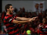 Western Sydney's Iacopo La Rocca celebrates after scoring his team's second goal against Central Coast Mariners in the A-League semi-final match on April 26, 2014