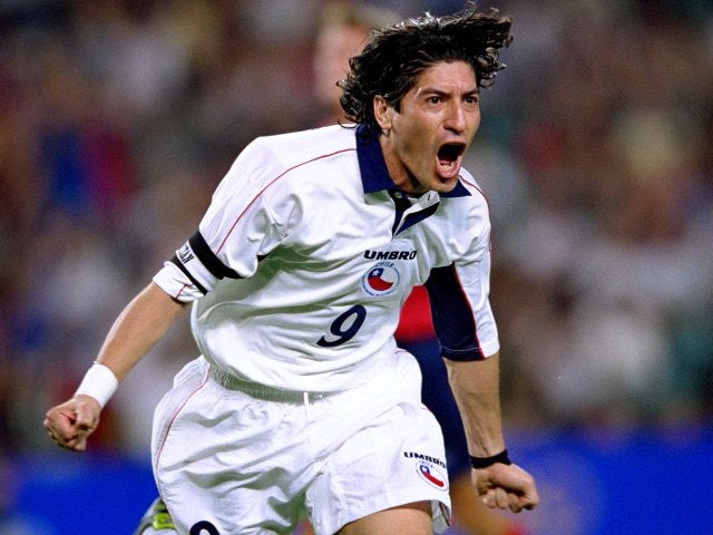 Ivan Zamarano celebrates scoring for Chile at the Sydney Olympics on September 29, 2000.
