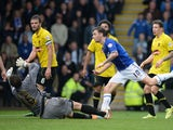 James O'Shea of Chesterfield scores their second goal during the Sky Bet League Two match against Burton Albion on April 27, 2014
