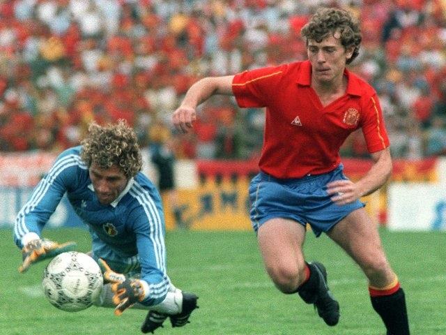 Belgium goalkeeper Jean-Marie Pffaf dives to make save on June 22, 1986.