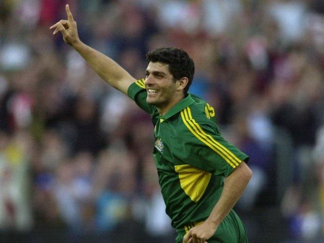 John Aloisi celebrates scoring for Australia on June 24, 2001.