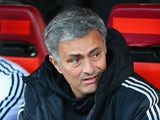 Chelsea manager Jose Mourinho looks on prior to kick-off in the Champions League semi-final first leg match against Atletico Madrid on April 22, 2014