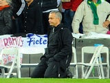 Real Madrid's Portuguese coach Jose Mourinho reacts during the penalty kicks of the UEFA Champions League second leg semi-final football match against Bayern Munich on April 25, 2012