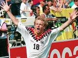 Germany's Jurgen Klinsmann celebrates scoring at the World Cup on June 17, 1994.