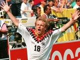 Germany's Jurgen Klinsmann celebrates scoring at the World Cup on June 17, 1994.