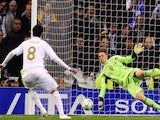 Bayern Munich's goalkeeper Manuel Neuer (R) stops a penalty kick from Real Madrid's Brazilian midfielder Kaka (L) during the UEFA Champions League second leg semi-final football match on April 25, 2012