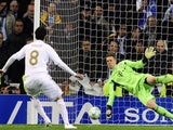 Bayern Munich's goalkeeper Manuel Neuer (R) stops a penalty kick from Real Madrid's Brazilian midfielder Kaka (L) during the UEFA Champions League second leg semi-final football match on April 25, 2012