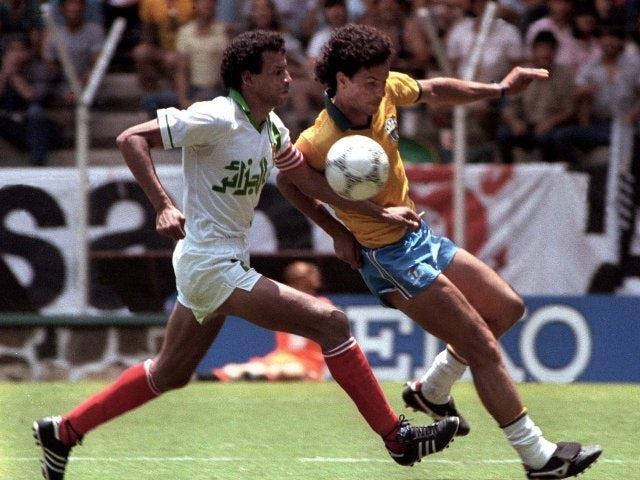 Algeria's Lakhdar Belloumi in action against Brazil on June 06, 1986.
