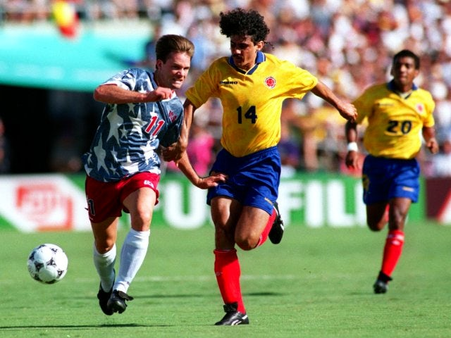 Leonel Alvarez in action for Colombia against USA on June 22, 1994.