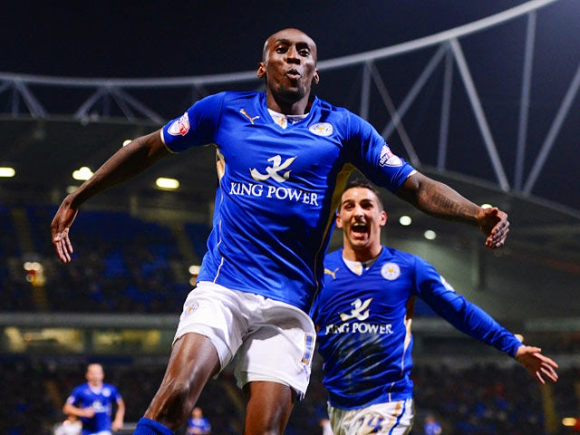 Leicester's Lloyd Dyer celebrates after scoring the opening goal against Bolton during the Championship match on April 22, 2014