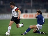 Lothar Matthaus in action for Germany against Italy on March 25, 1992.