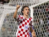 Real Madrid midfielder Luka Modric celebrates scoring for Croatia on August 16, 2006.