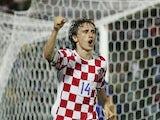 Real Madrid midfielder Luka Modric celebrates scoring for Croatia on August 16, 2006.