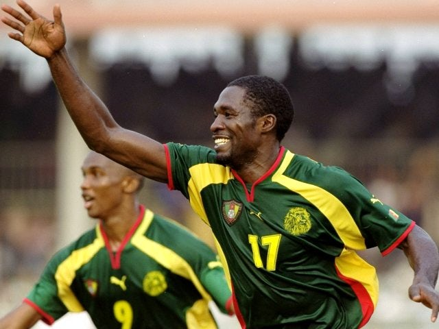 The late Marc Vivien-Foe celebrates scoring a goal for Cameroon on February 06, 2000.