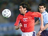 Marcelo Salas in action for Chile against Argentina on March 29, 2000.