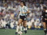 Mario Kempes in action for Argentina on August 01, 1978.