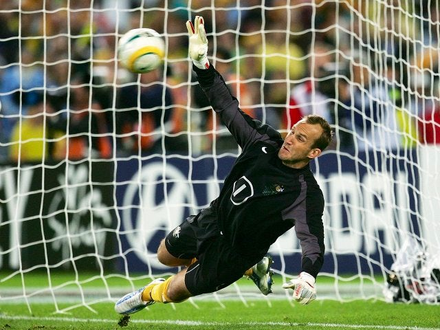 Mark Schwarzer saves a penalty for Australia on November 16, 2005.