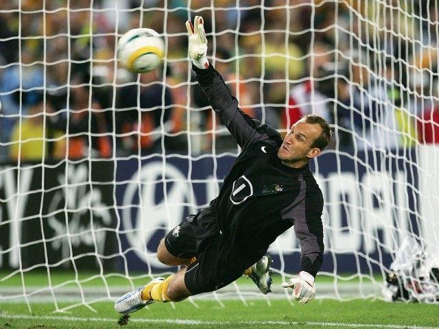 Mark Schwarzer saves a penalty for Australia on November 16, 2005.