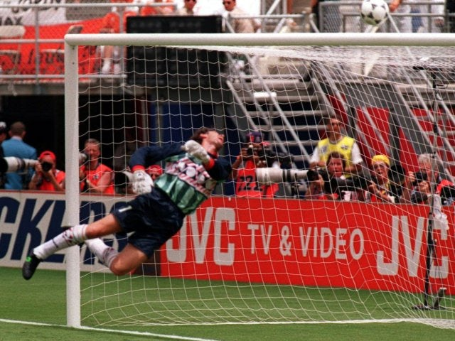 Belgium's Michel Preud'homme makes a save from Marc Overmars on June 25, 1994.