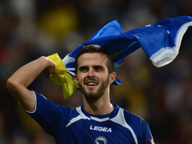 Miralem Pjanic celebrates Bosnia qualifying for the World Cup on September 10, 2013.