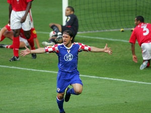 Croatia midfielder Niko Kovac celebrates scoring against England on May 21, 2004.