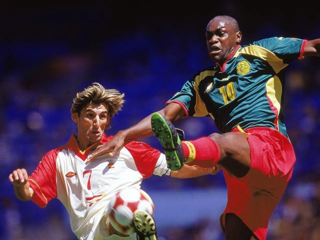 Patrick Mboma in action for Cameroon September 30, 2000.