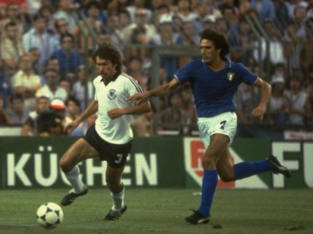 Germany's Paul Breitner in action against Italy on July 11, 1982.