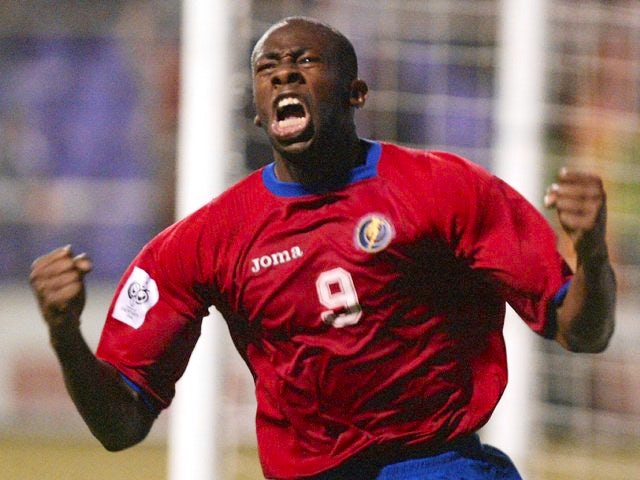 Paulo Wanchope celebrates scoring for Costa Rica on June 08, 2005.