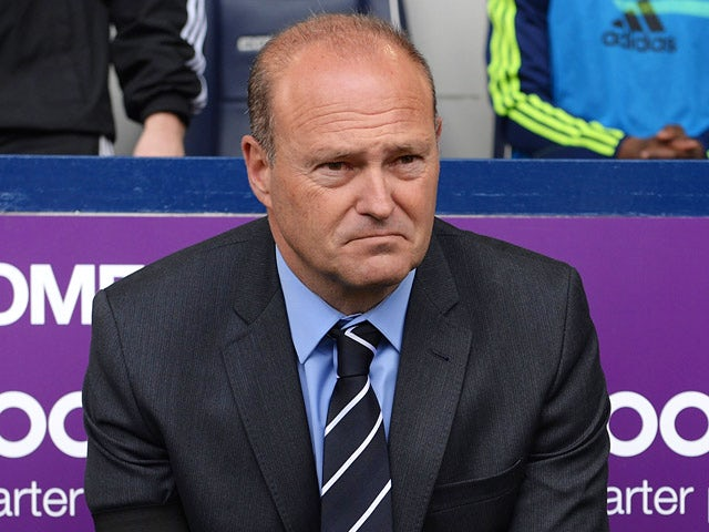 West Brom head coach Pepe Mel looks on prior to kick-off in the Premier League match against West Ham on April 26, 2014