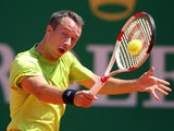 Philipp Kohlschreiber of Germany in action against Jo-Wilfried Tsonga of France during day three of the ATP Monte Carlo Rolex Masters on April 15, 2014
