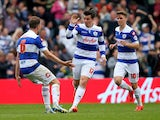 Joey Barton of Queens Park Rangers celebrates his goal during the Sky Bet Championship match between Queens Park Rangers and Watford at Loftus Road on April 21, 2014