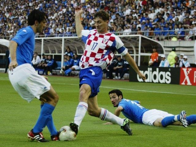 Croatia defender Robert Jarni battles for possession against Italy on June 08, 2002.