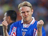 Robert Prosinecki celebrates scoring for Croatia on July 11, 1998.