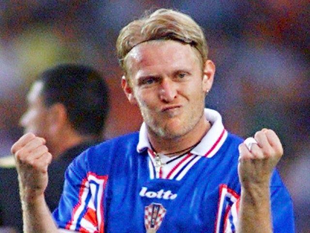 Robert Prosinecki celebrates scoring for Croatia on July 11, 1998.