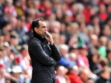 Everton's Roberto Martinez on the touchline against Southampton during the Premier League match on April 26, 2014