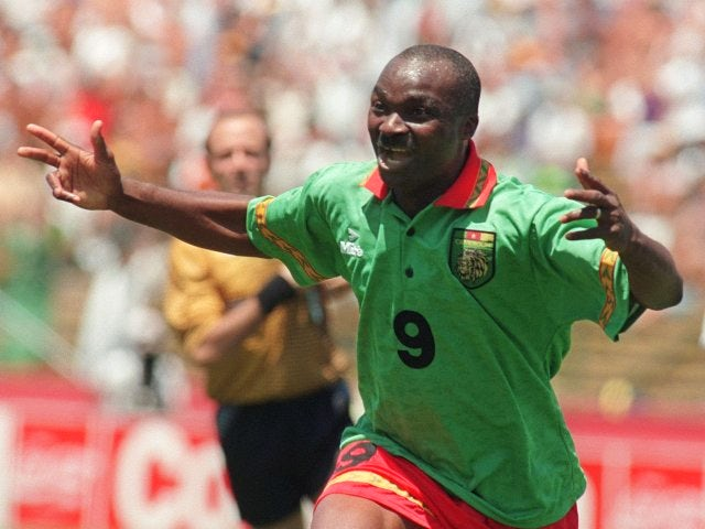 Roger Milla celebrates scoring at the World Cup for Cameroon on June 28, 1994.
