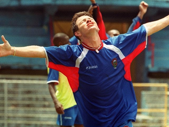 Rolando Fonseca celebrates scoring for Costa Rica on October 07, 2000.